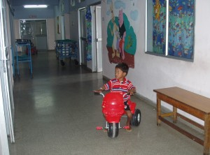 A young patient on the road to recovery