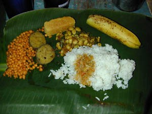 A mealon a banana leaf.