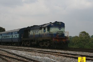 A WDM 3A (Broad Gauge, Diesel, Mixed traffic, 3100 horse power) locomotive.