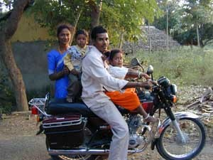 Family on a motorbike