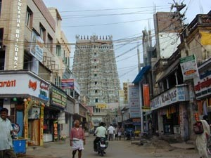 The Menakshi temple dominates the town of Madurai.