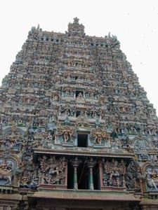 One of the Gopura entrance towers at Menakshi Temple, Madurai.