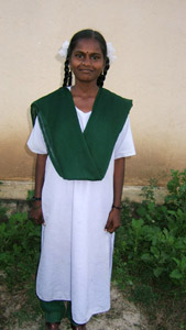 Vijayalakshmi wearing the uniform for Standard 11 and 12