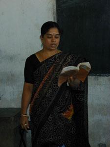 Amudha teaches Standard 6, 7 and 8 classes