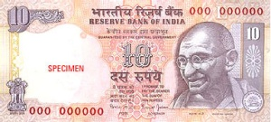 The 10 Rupee note