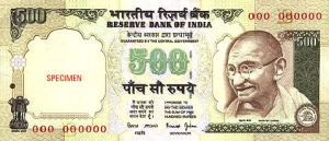 The 500 Rupee note
