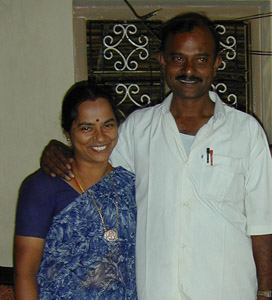 Arul, seen here with his wife Uma, was a senior and much respected member of the Tailoring Society. He worked tirelessly to help local tailors and weavers set up their own Self Help Groups.