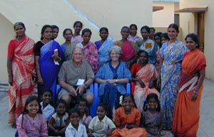 The women of the village self-help group helped with setting up the One Candle Project.