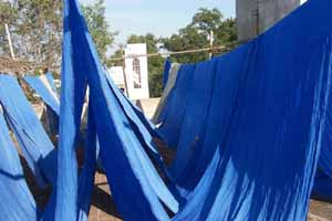 After weaving the cloth is washed and dried in the sun.