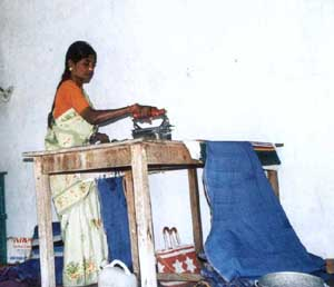 Each length of cloth is carefully ironed.