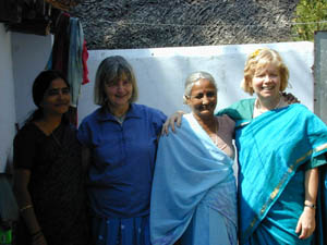 Carolyn and Sally, who set up the Bishopston Kuppam Link, with Selvi and Sorja Amma, on a visit to K.V.Kuppam.