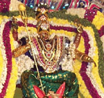 The Goddess Kali Amman surrounded by fresh flowers.