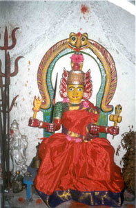 The mother goddess Mariamman is very popular in rural areas.