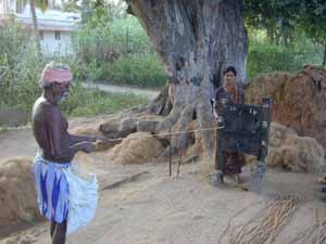 Coir rope making is another cottage industry. Whole families work together.
