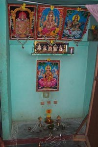 A family household shrine used for daily 'puja'.
