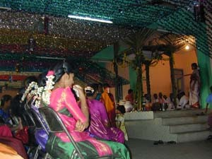 Marriages usually take place in a special marriage hall. Poorer families will marry at the temple.