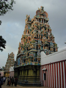 Colourful Gopurams like this one at Madurai are famous throughout Tamil Nadu.